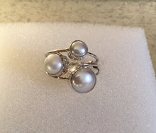 Triple Sterling Silver Pearl Ring
