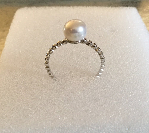 Pearl Sterling Silver beaded Ring