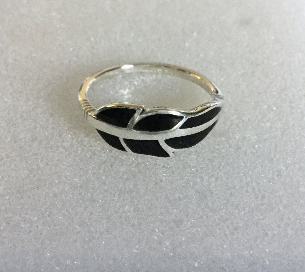 Black Sterling Silver Feather Ring