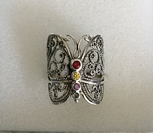 Multi color Silver Butterfly ring