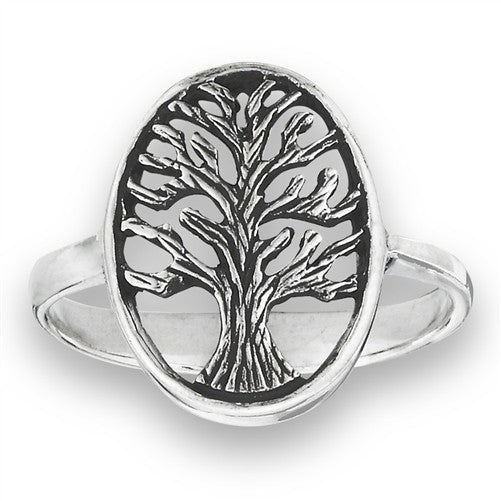Tree of life ring Oval shape/Raised edging