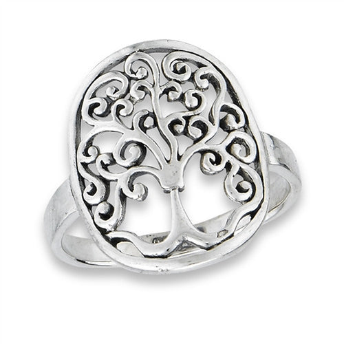 Tree of life ring curly Q detail