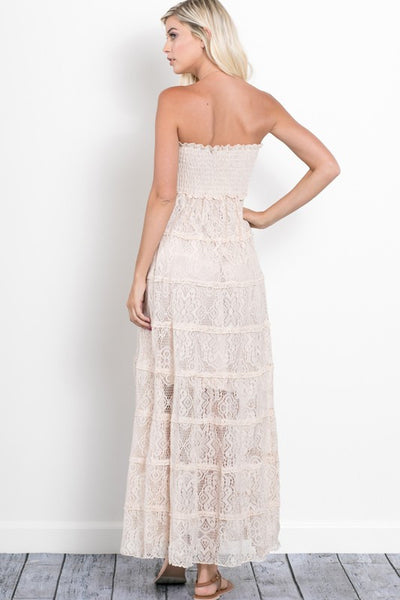 MERCY LACE STRAPLESS DRESS IN NATURAL