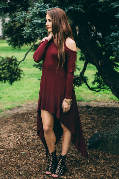 DARK WINE COLD SHOULDER HIGH LOW DRESS