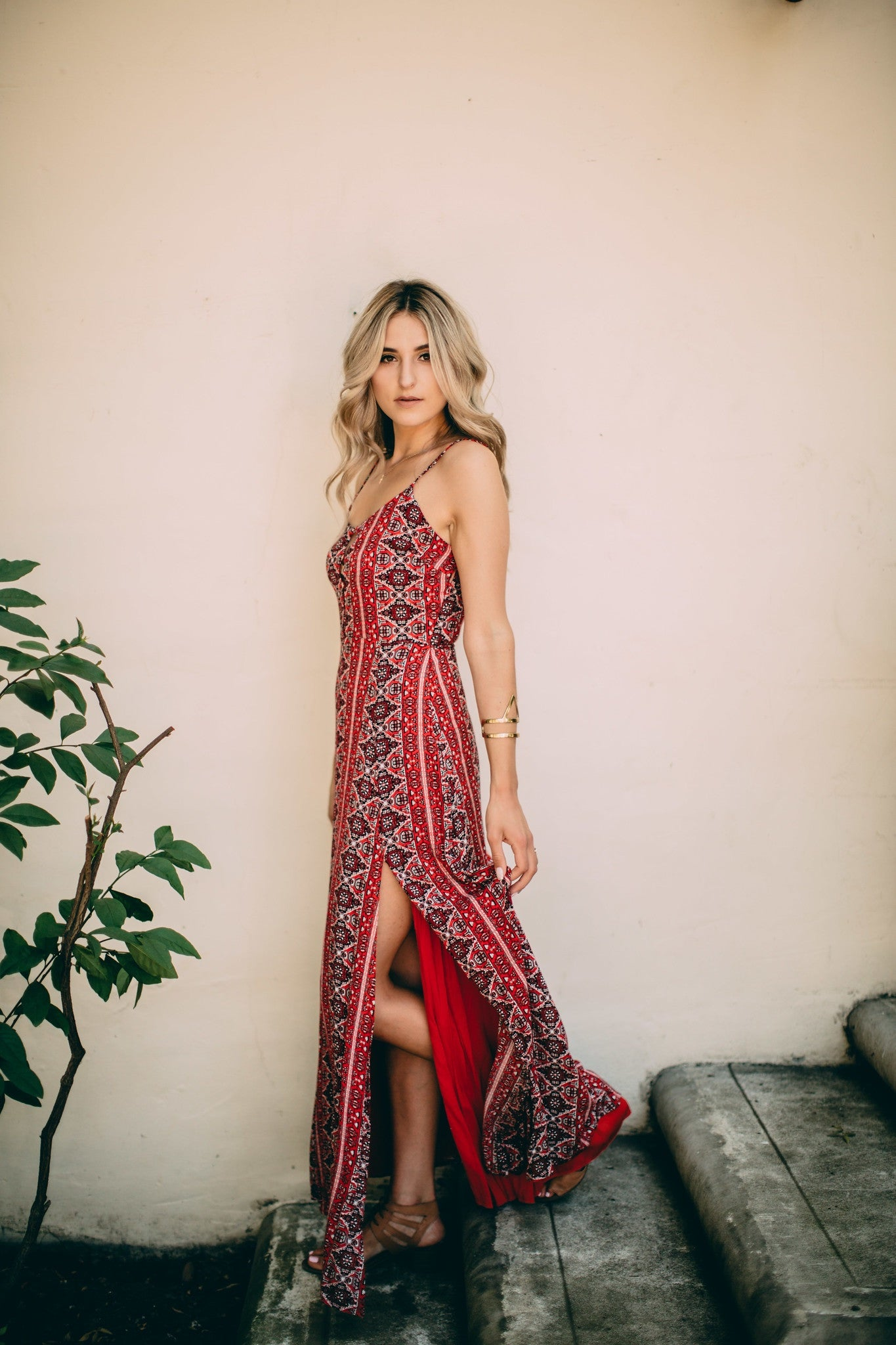 RED DOUBLE SLIT MAXI DRESS