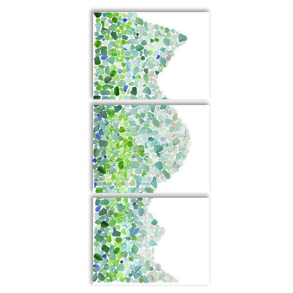 Sea Glass Wave Triptych