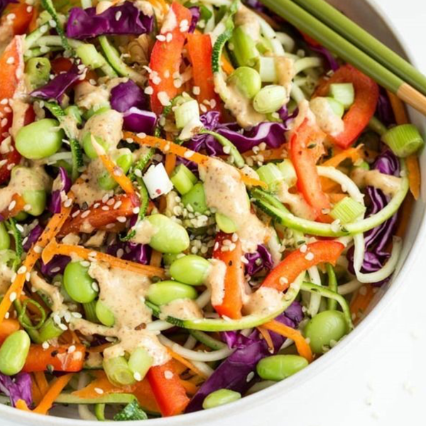 RAW VEGAN PAD THAI SALAD WITH ASIAN PEANUT DRESSING