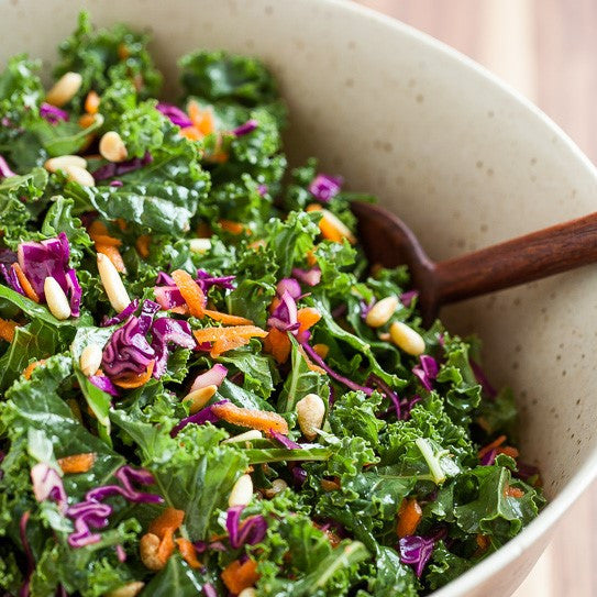 KALE & CABBAGE SALAD WITH CREAMY HONEY MUSTARD DRESSING