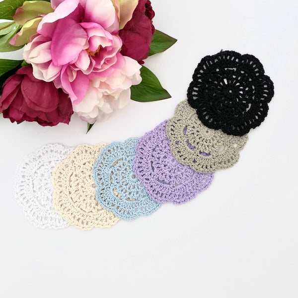 CROCHET DOILIES WHITE , CREAM , BLUE  PURPLE , TAUPE AND BLACK 9 - 10 CM x 5