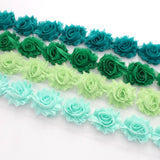 MINI SHABBY FLOWER TRIM IN TEAL, GREEN, CELERY GREEN AND MINT GREEN X 14 FLOWERS