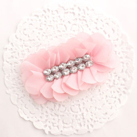 """AMELIA"" CHIFFON AND RHINESTONE FLOWER"