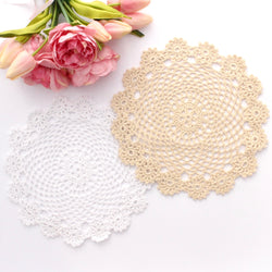 CROCHET DOILIES WHITE AND CREAM 24 CM