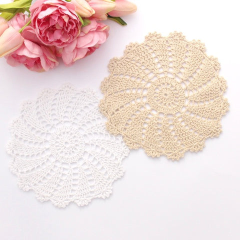 CROCHET DOILIES WHITE AND CREAM 19 - 20 CM