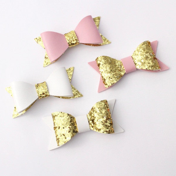 SMALL GLITTER BOW APPLIQUE