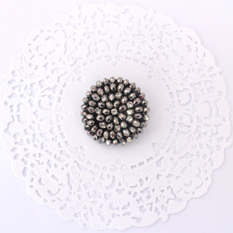 GUNMETAL BEADED RHINESTONE BUTTON APPLIQUE