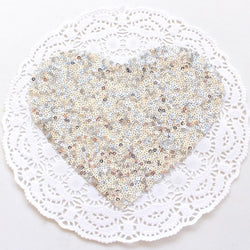 SILVER HEART SEQUIN APPLIQUE