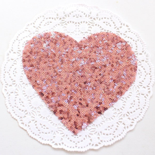 PINK HEART SEQUIN APPLIQUE