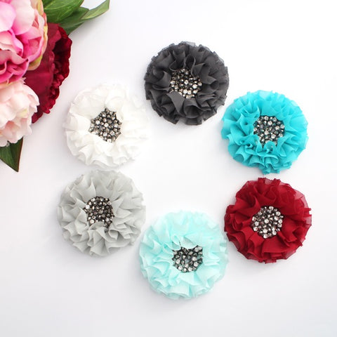 CHIFFON BEADED RHINESTONE FLOWERS