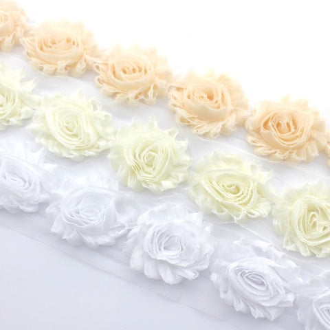 SHABBY FLOWER TRIM IN NUDE, IVORY AND WHITE X 10 FLOWERS