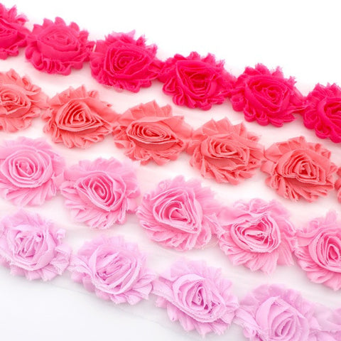 SHABBY FLOWER TRIM IN HOT PINK, CORAL PINK, PINK AND STRAWBERRY PINK X 10 FLOWERS
