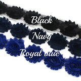 SHABBY FLOWER TRIM IN BLACK, NAVY AND ROYAL BLUE X 10 FLOWERS