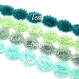 SHABBY FLOWER TRIM IN TEAL, CELERY GREEN, SAGE AND MINT GRREN X 10 FLOWERS