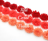 SHABBY FLOWER TRIM IN RED, CORAL AND PEACH X 10 FLOWERS