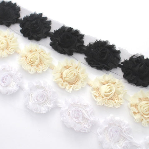 SHABBY FLOWER TRIM IN BLACK, IVORY AND WHITE X 10 FLOWERS