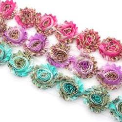 FLORAL SHABBY FLOWERS IN PINK, PURPLE AND AQUA X 10 FLOWERS