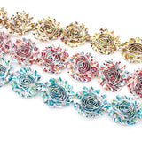 FLORAL SHABBY FLOWER TRIM IN BEIGE, ROSY PINK AND TEAL X 10 FLOWERS
