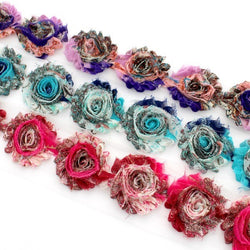 PEACOCK SHABBY FLOWER TRIM IN PURPLE, BLUE AND HOT PINK X 10 FLOWERS