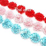 PATTERN SHABBY FLOWER TRIM IN RED DOTS, PINK DOTS AND AQUA X 10 FLOWERS