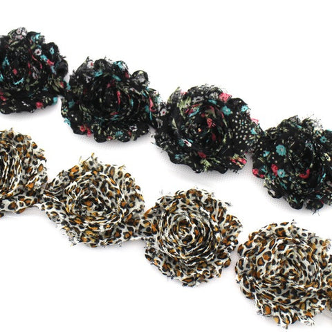 PATTERN SHABBY FLOWER TRIM IN BLACK AND LEOPARD X 10 FLOWERS