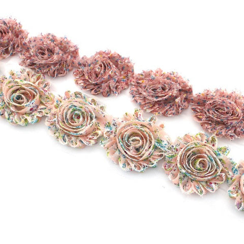 FLORAL SHABBY FLOWER TRIM IN DUSTY AND LIGHT PINK X 10 FLOWERS
