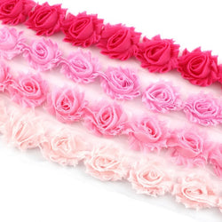 MINI SHABBY FLOWER TRIM IN HOT PINK, CANDY PINK, PINK AND BABY PINK X 14 FLOWERS