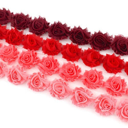 MINI SHABBY FLOWER TRIM IN MAROON, RED, CORAL AND CORAL PINK X 14 FLOWERS