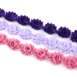MINI SHABBY FLOWER TRIM IN GRAPE, LAVENDER AND DEEP DUSTY X 14 FLOWERS