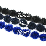 MINI SHABBY FLOWER TRIM IN BLACK, NAVY AND ROYAL X 14 FLOWERS