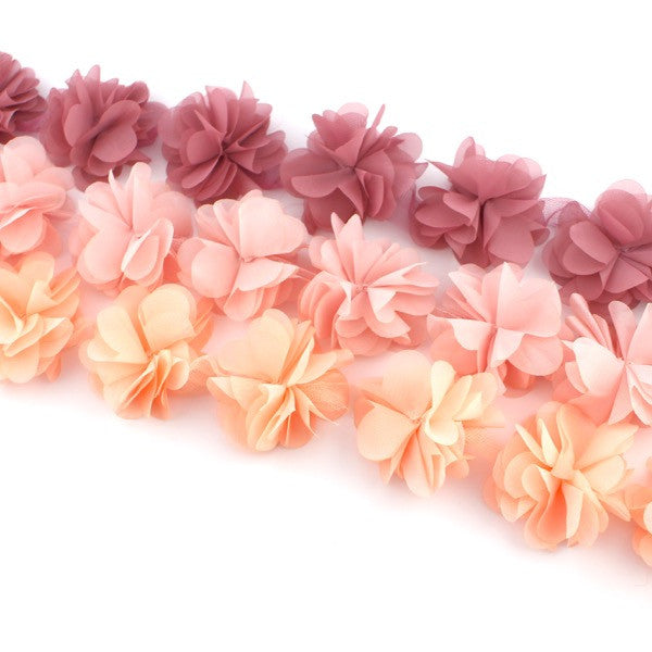 PEONIES FLOWER TRIM IN DUSTY PINK, BABY PINK AND PEACH X 10 FLOWERS
