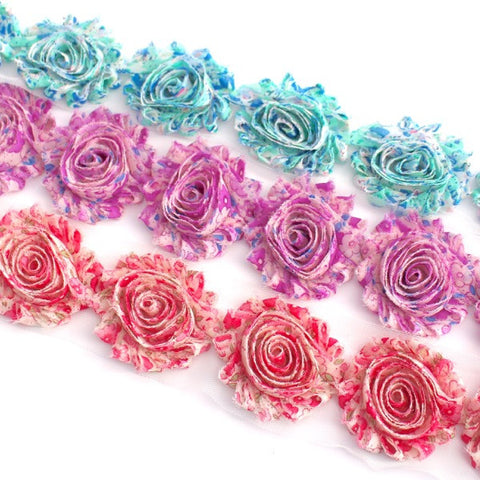 FLORAL SHABBY FLOWERS IN BLUE , PURPLE AND PINK X 10 FLOWERS