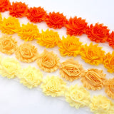 SHABBY FLOWER TRIM IN BUTTERCUP, MELON, YELLOW AND ORANGE X 10 FLOWERS