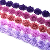 SHABBY FLOWER TRIM IN GRAPE, LIGHT PLUM, DEEP DUSTY, VIOLET AND LAVENDER X 10 FLOWERS