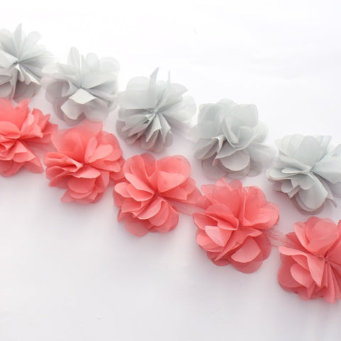 PEONIES FLOWER TRIM IN GREY AND SALMON PINK X 10 FLOWERS