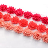 MINI SHABBY FLOWER TRIM IN DEEP HOT PINK , CORAL AND VINTAGE PINK X 14 FLOWERS