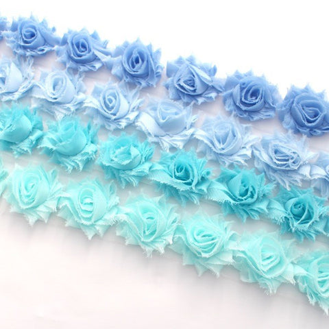 MINI SHABBY FLOWER TRIM IN DARK BLUE, BABY BLUE, BLUE AND AQUA X 14 FLOWERS