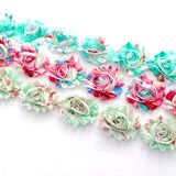 FLORAL SHABBY FLOWER TRIM IN AQUA, PINK AND MINT X 10 FLOWERS