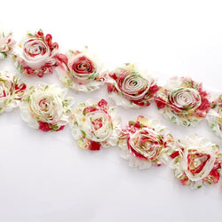 FLORAL SHABBY FLOWER TRIM IN FRAYED VINTAGE AND UN FRAYED VINTAGE X 10 FLOWERS