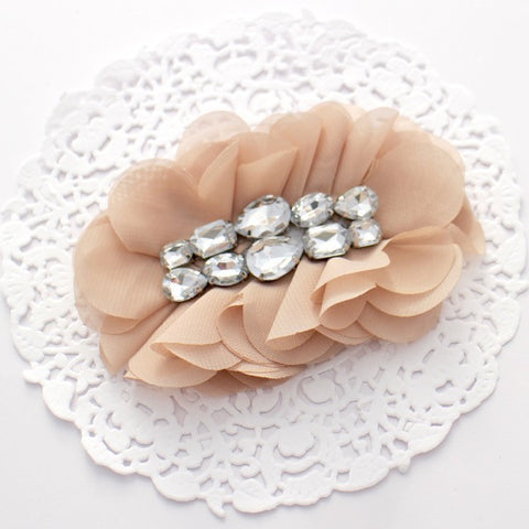 """HARPER"" OVAL CHIFFON AND RHINESTONE FLOWER"