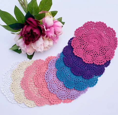 CROCHET DOILIES WHITE ,IVORY , WATERMELON PINK , CORAL , PURPLE , BLUE , DARK PURPLE , MAGENTA 20-21 CM