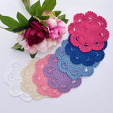 CROCHET DOILIES WHITE ,IVORY , CANDY PINK , PURPLE , LIGHT BLUE , BLUE AND  HOT PINK 18-19 CM